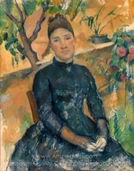 Madame Cezanne (Hortense Fiquet) in the Conservatory painting reproduction, Paul C�zanne