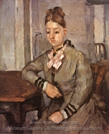 Madame Cezanne Leaning on a Table painting reproduction, Paul C�zanne