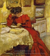 Madame Hessel en Robe Rouge Lisant painting reproduction, Edouard Vuillard