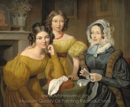 Madame Vieyres and Her Daughters painting reproduction, Jacques Laurent Agasse