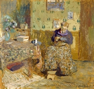 Madame Vuillard Sewing painting reproduction, Edouard Vuillard
