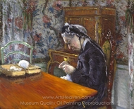 Mademoiselle Boissiere Knitting painting reproduction, Gustave Caillebotte