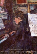 Mademoiselle Marie Dihau Playing the Piano painting reproduction, Henri De Toulouse-Lautrec