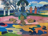 Mahana no Atua (The Day of the God) painting reproduction, Paul Gauguin