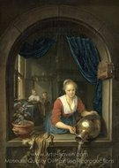 Maidservant at a Window painting reproduction, Gerrit Dou