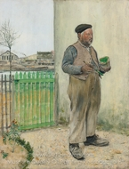 Man Having Just Painted His Fence painting reproduction, Jean-Francois Raffaelli