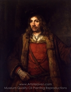 Man in a Fur-lined Coat painting reproduction, Rembrandt Van Rijn