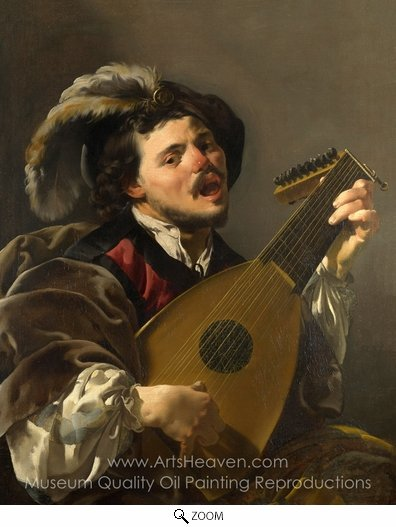 Hendrick Ter Brugghen, Man Playing a Lute oil painting reproduction