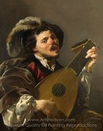 Man Playing a Lute painting reproduction, Hendrick Ter Brugghen