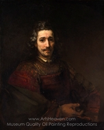 Man with a Magnifying Glass painting reproduction, Rembrandt Van Rijn