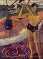 Man with an Ax painting reproduction, Paul Gauguin