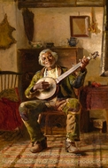 Man with Banjo painting reproduction, Thomas Hovenden