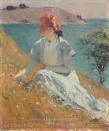 "Margaret (""Gretchen"") Strong painting reproduction, Frank Weston Benson"