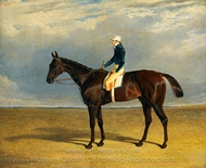Margrave, a Liver Chestnut Racehorse with Jockey James Robinson Up painting reproduction, John Frederick Herring Sr.