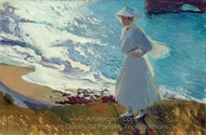 Maria on the Beach at Biarritz painting reproduction, Joaquin Sorolla