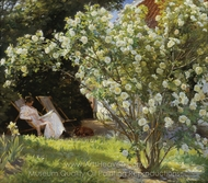 Marie Kroyer Seated in the Deckchair in the Garden painting reproduction, Peder Severin Kroyer