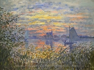 Marine View with a Sunset painting reproduction, Claude Monet