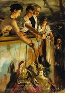 Marionettes (Behind The Curtain) painting reproduction, John Singer Sargent