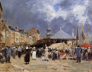 Market at Trouville painting reproduction, Eugene-Louis Boudin