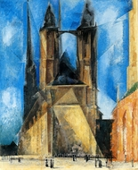 Market Church at Evening painting reproduction, Lyonel Feininger
