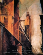 Market Church in Halle painting reproduction, Lyonel Feininger