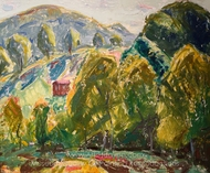 Marlboro Landscape (House in Hills) painting reproduction, Alfred Henry Maurer