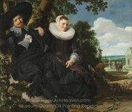 Marriage Portrait of Isaac Massa and Beatrix van der Laen painting reproduction, Frans Hals