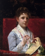 Mary Ellison Embroidering painting reproduction, Mary Cassatt