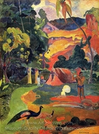 Matamoe (Landscape with Peacocks) painting reproduction, Paul Gauguin