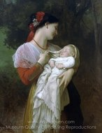 Maternal Admiration (Admiration Maternelle) painting reproduction, William A. Bouguereau