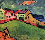 Meadow at Moritzburg painting reproduction, Max Pechstein