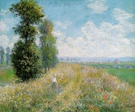 Meadow with Poplars Near Argenteuil painting reproduction, Claude Monet