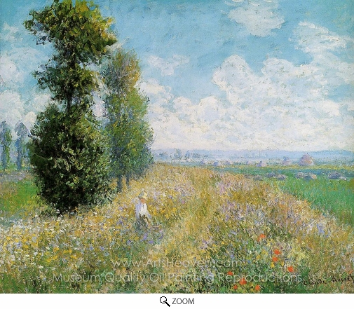Claude Monet, Meadow with Poplars Near Argenteuil oil painting reproduction