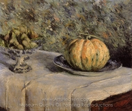 Melon and Bowl of Figs painting reproduction, Gustave Caillebotte