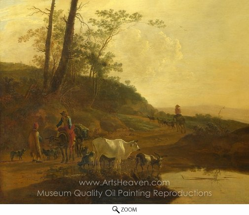 Jan Both, Men with an Ox and Cattle by a Pool oil painting reproduction