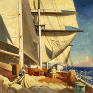 Mending Sails on the Deck of the Birkdale painting reproduction, Herbert B. J. Everett