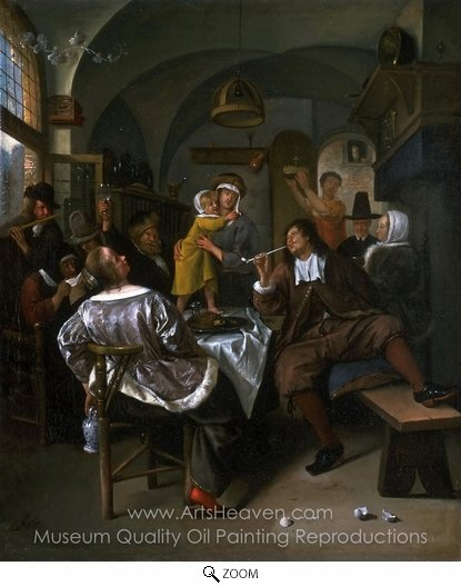 Jan Steen, Merry Company oil painting reproduction