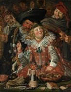 Merrymakers at Shrovetide painting reproduction, Frans Hals