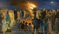 Midsummer's Eve Bonfire on Skagen's Beach painting reproduction, Peder Severin Kroyer
