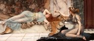 Mischief and Repose painting reproduction, John William Godward