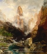 Mist in Kanab Canyon, Utah painting reproduction, Thomas Moran