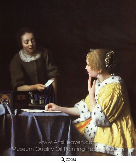 Jan Vermeer, Mistress and Maid oil painting reproduction