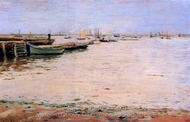 Misty Day, Gowanus Bay painting reproduction, William Merritt Chase