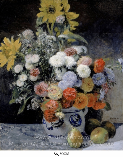Pierre-Auguste Renoir, Mixed Flowers in an Earthenware Pot oil painting reproduction