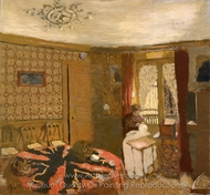 Mme Vuillard Sewing by the Window, rue Truffaut painting reproduction, Edouard Vuillard