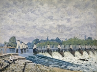Molesey Weir, Hampton Court painting reproduction, Alfred Sisley