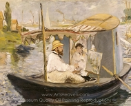 Monet Painting in His Floating Studio painting reproduction, �douard Manet