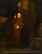 Monk at the Wine Tasting painting reproduction, Eduard Von Grutzner