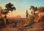 Monte Pellegrion and Palermo painting reproduction, Gustaf Wilhelm Palm