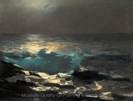 Moonlight, Wood Island Light painting reproduction, Winslow Homer